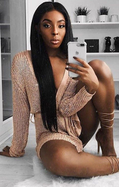 Metallic Knit Rose Gold Tie Waist Wrap Dress