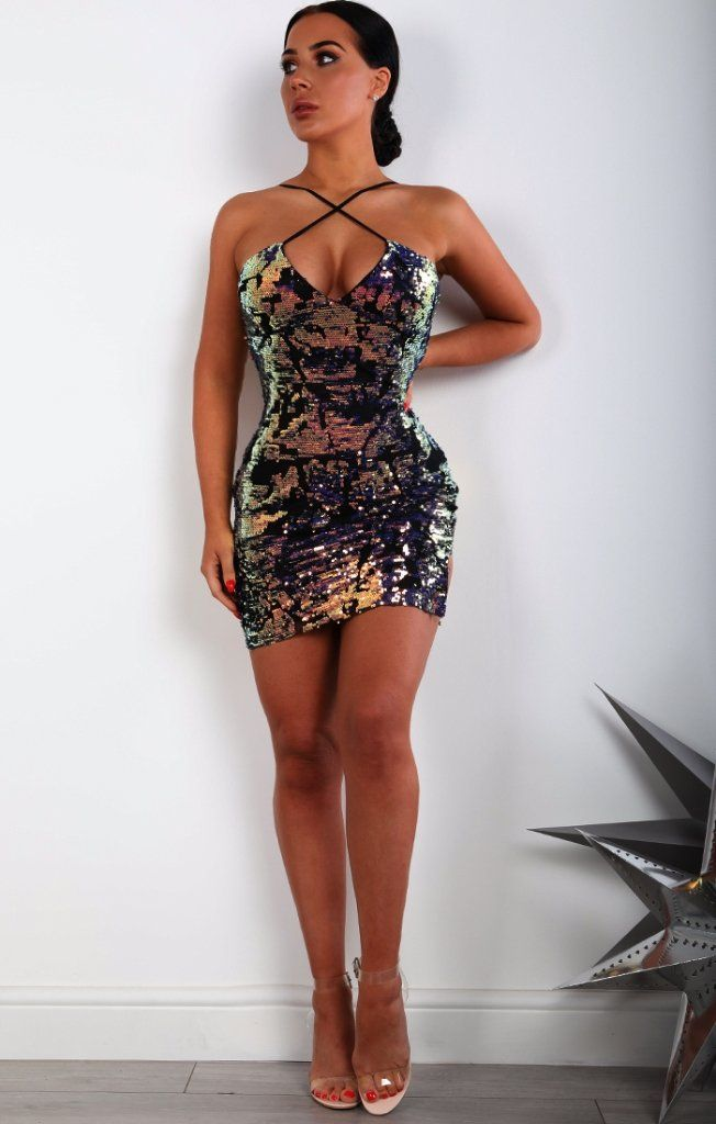 Black Side Split Sequin Detail Bodycon Dress