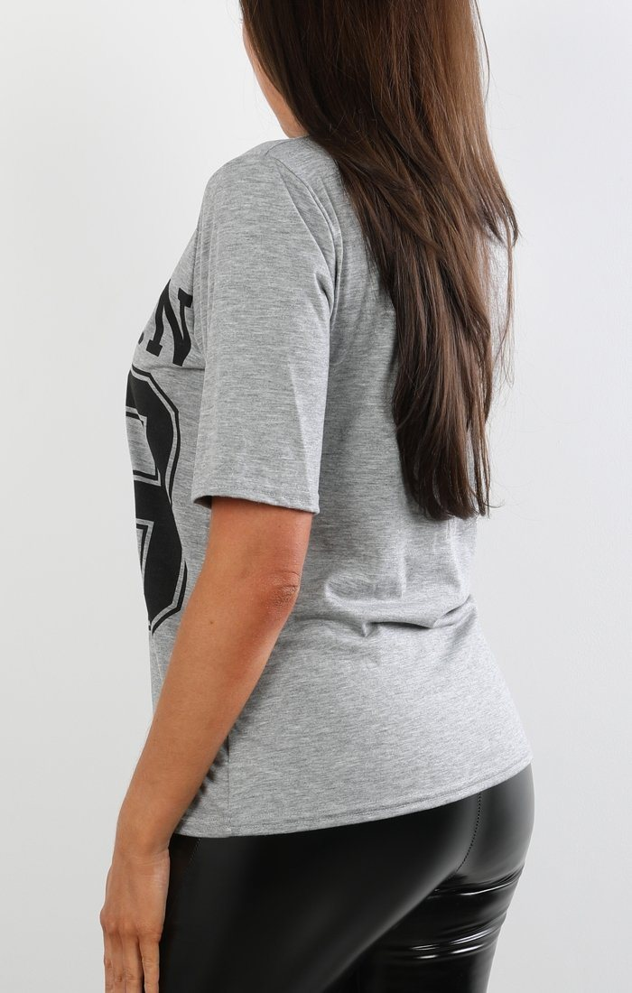 Grey Lace Up Boston Tee