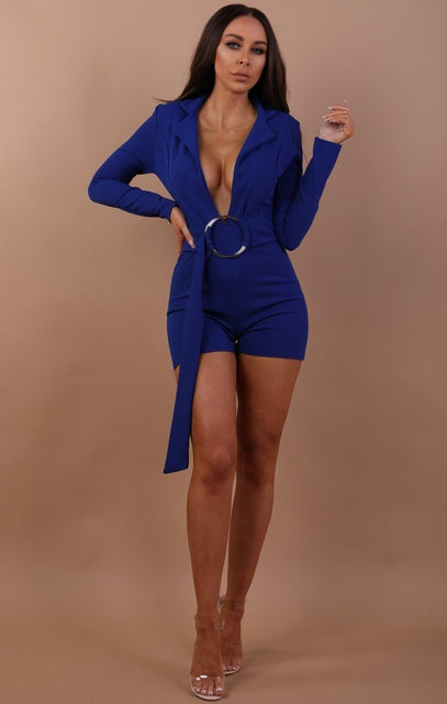 Blue Plunge Ring Front Playsuit - Marley
