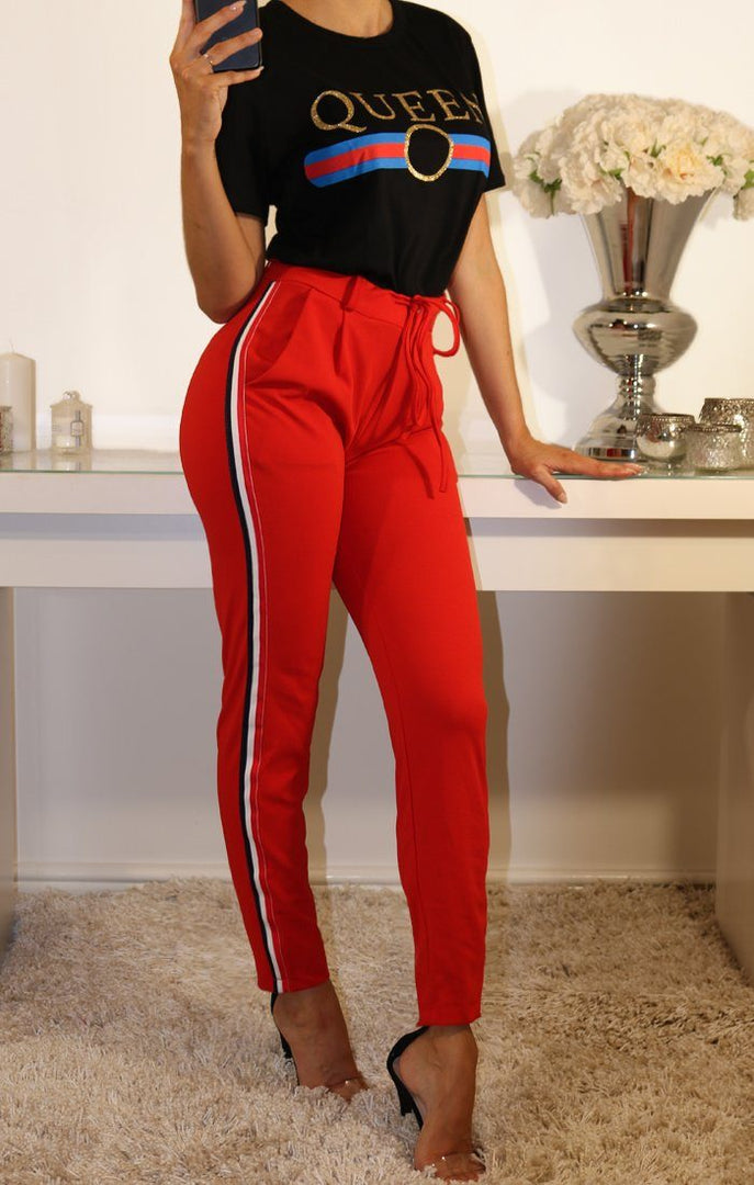 Red High Waist Striped Trousers
