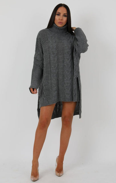 Grey Chunky Cable Knit High Neck Oversized Dress - Abi