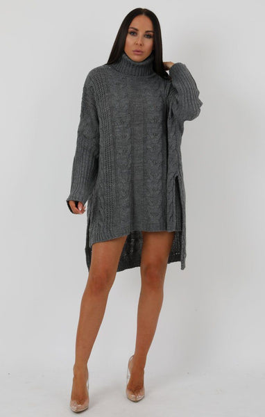 59fdceb436a Grey Chunky Cable Knit High Neck Oversized Dress - Abi