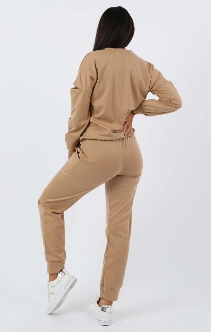 Camel Boxy Ripped Knee Loungewear Set - Bobbie