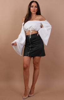 White Bardot Flared Crop Top - Fern