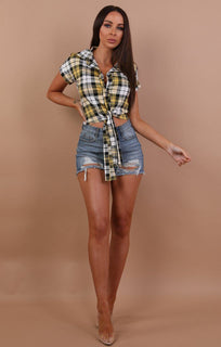 Yellow Check Tie Front Shirt - Corrin