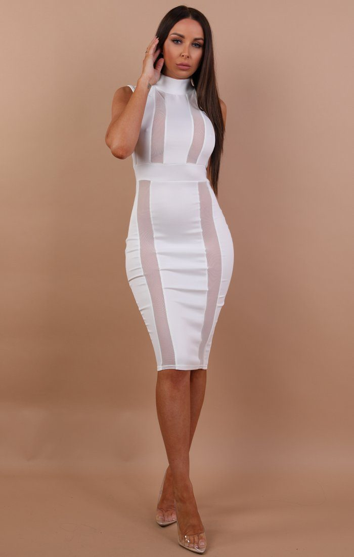 White High Neck Mesh Front Midi Dress - Nikol