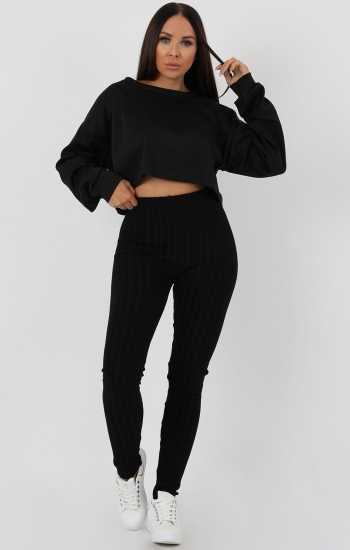 Black Ribbed Knit Leggins - Amara
