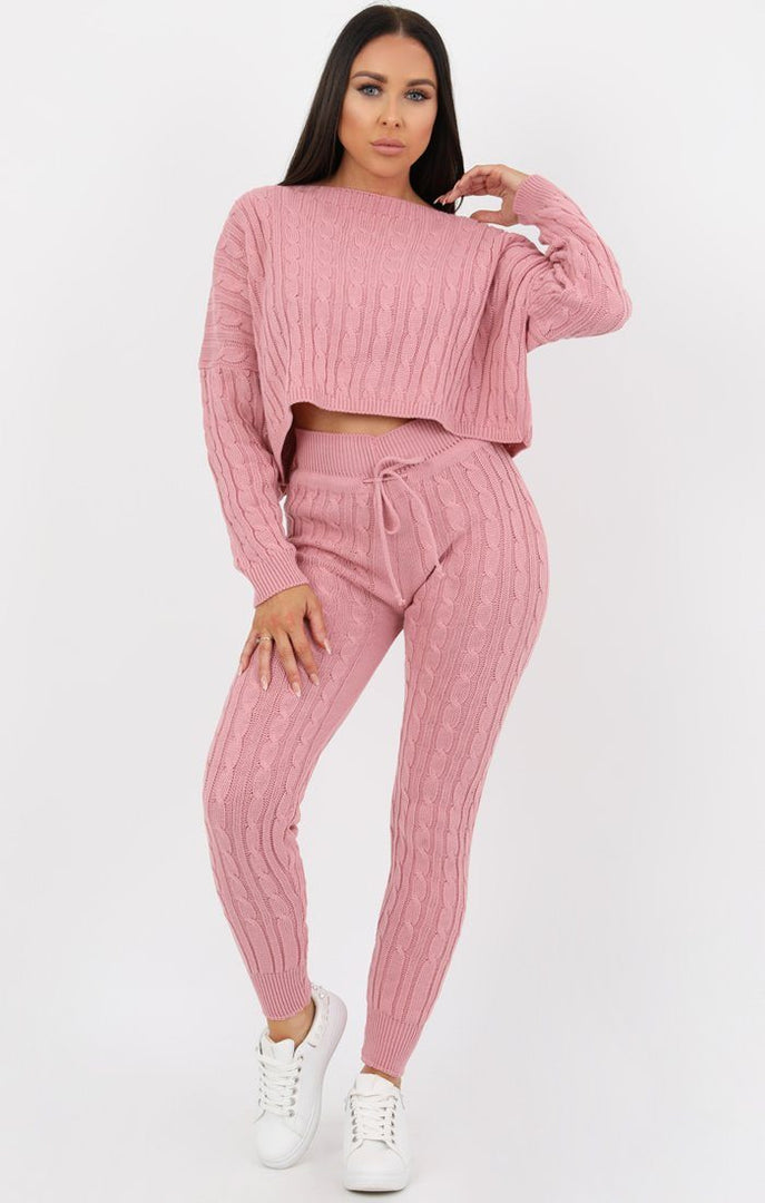Rose Cable Knit Loungewear Set - Robina