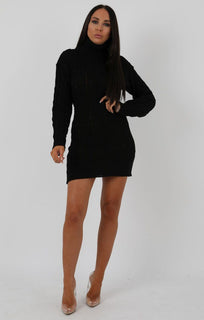 Black Knit Turtle Neck Bodycon Mini Dress - Saskie