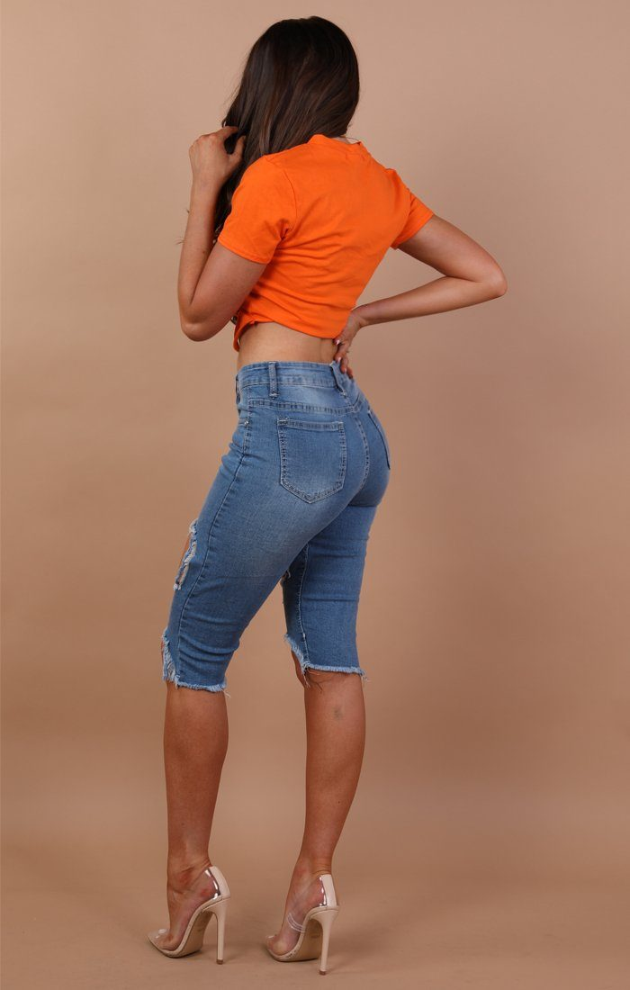 Orange Distressed Cut Front Crop Top - Molly