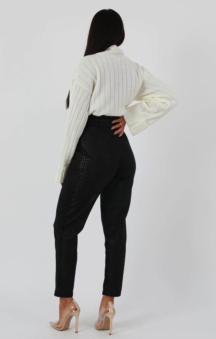 White Ribbed Knit Oversized High Neck Jumper - Elisha