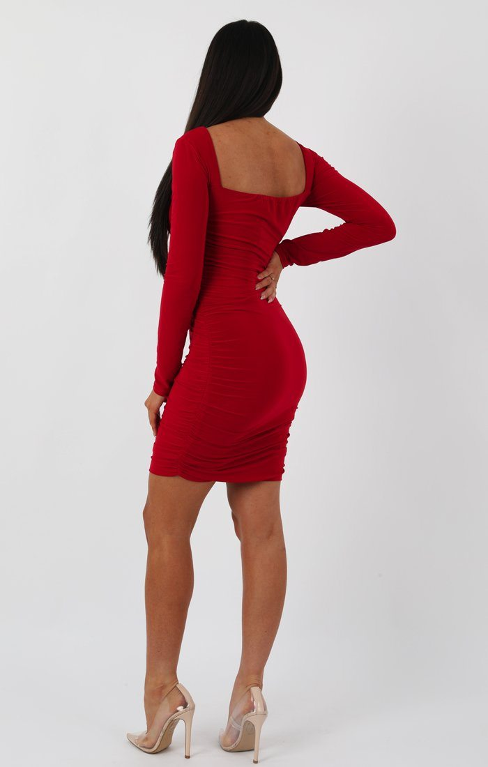 Red Slinky Square Neck Ruched Bodycon Dress - Cristbal