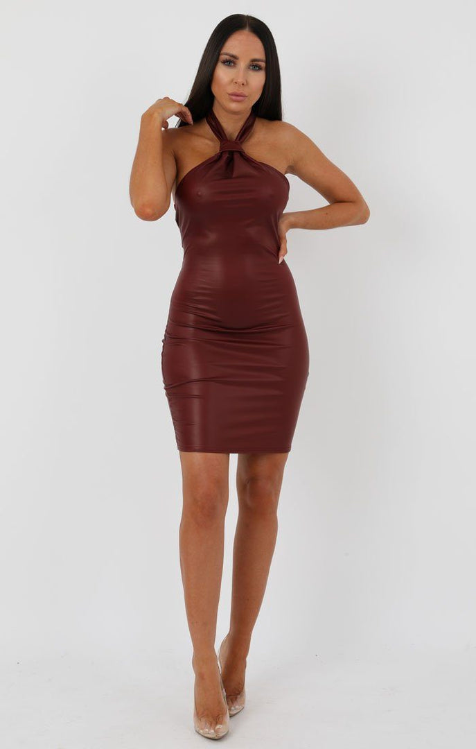 Wine Faux Leather Knot Bodycon Mini Dress - Justine