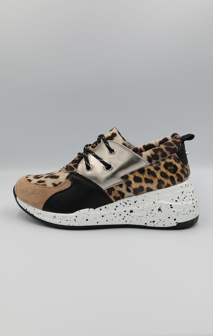 cbcc1af381cef Gold Animal Leopard Print Trainers | Shoes | Femme Luxe