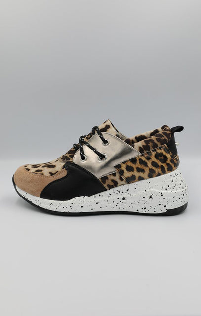 Gold Animal Leopard Print Trainers - Mia