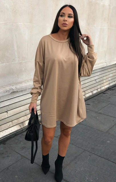 Camel Oversized Sweater Dress - Ola