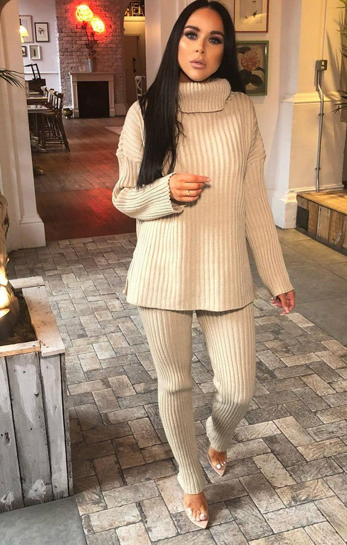Stone Oversized Turtle Neck Jumper Co-Ord - Aionna