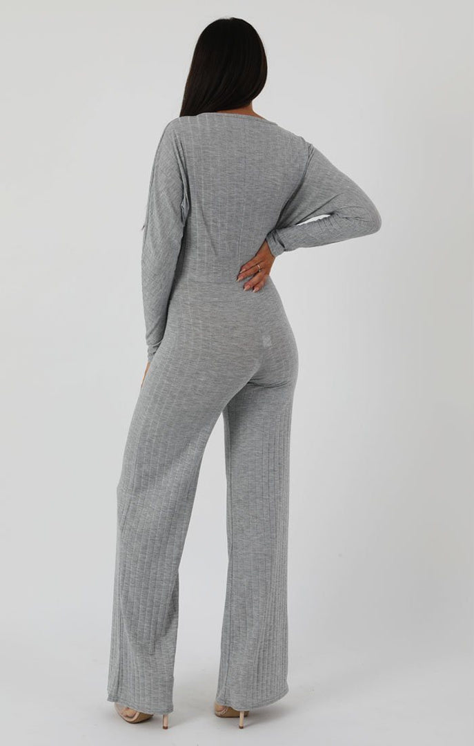 Grey Ribbed Long Sleeved Plunge Jumpsuit - Cassie