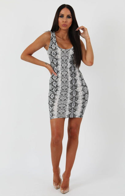 Animal Snake Print Scoop Neck Bodycon Dress - Alex