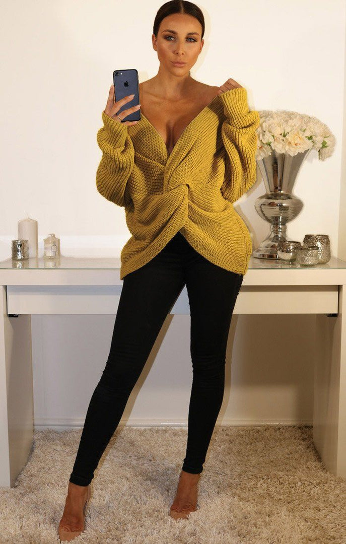 Mustard Front Wrap Knitted Jumper