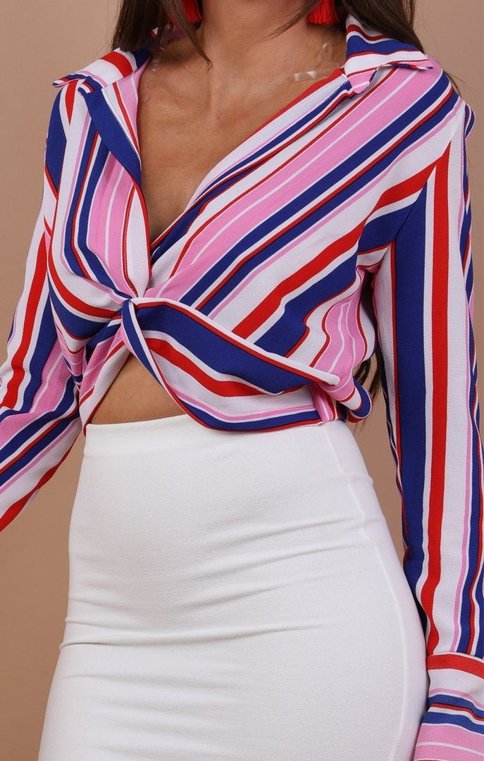Blue Multi Stripe Front Knot Crop Top - Camila