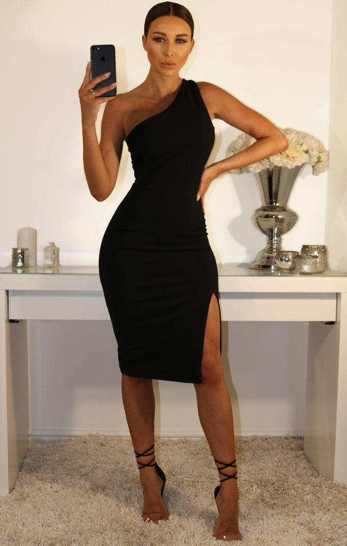 Black-One-Shoulder-Midi-Dress