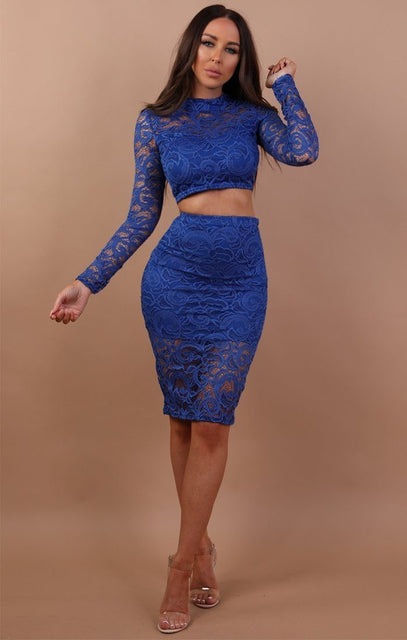 Blue Lace Midi High Waist Skirt Co-ord Set - Juliet