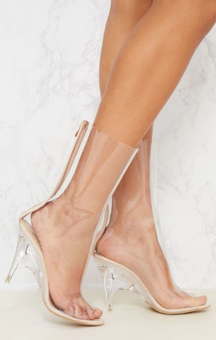 Nude Peeptoe Transparent Shoe Boot - Jenna