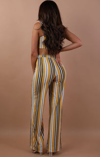 Yellow Striped Two Piece Co-ord Set - Katie