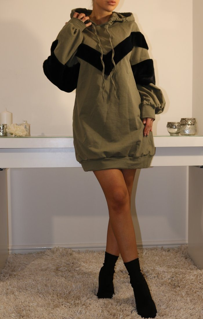 Khaki Oversized Faux Fur Hooded Jumper Dress