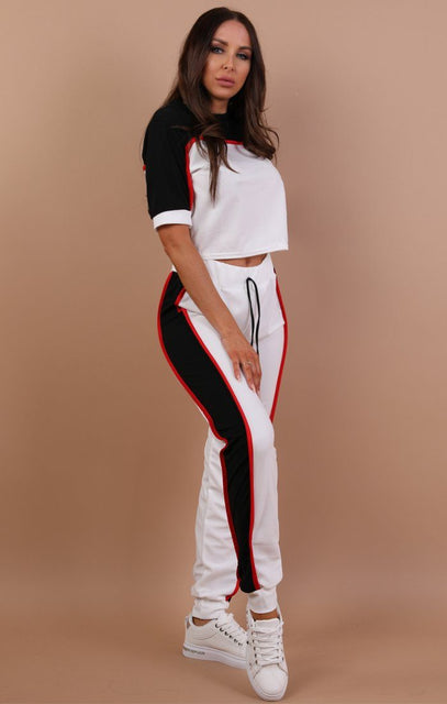 White Colour Contrast Loungewear Set - Libby