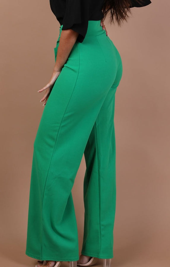 Green-High-Waist-Belted-Wide-Leg-Trousers