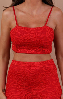 Red Floral Lace Trouser Co-ord Set - Ada