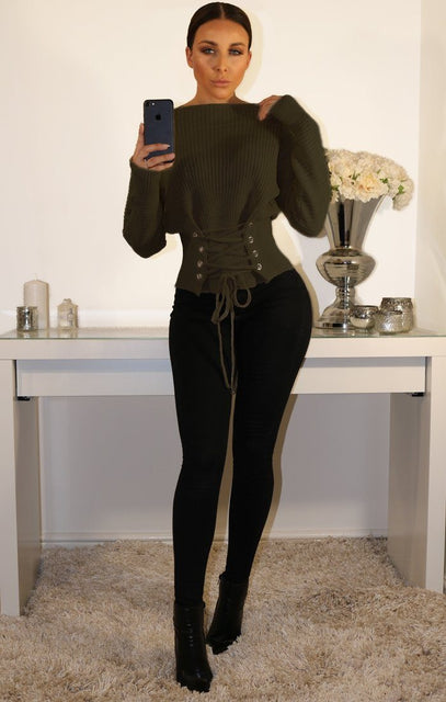 Khaki Corset Front Knitted Jumper