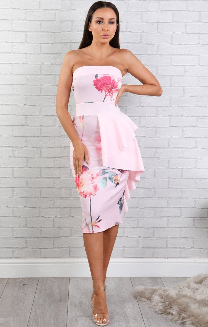 Pink Frilled Floral Bandeau Midi Dress - Jenny