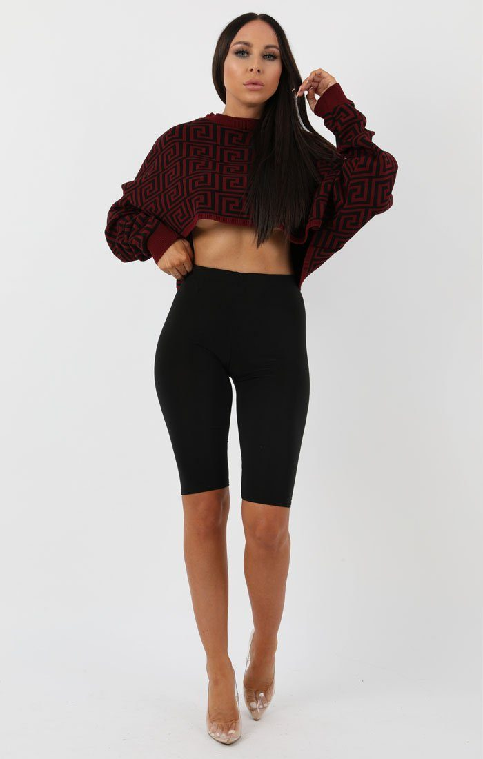Red Black Long Sleeve Crop Jumper - Sienna jumper FemmeLuxe