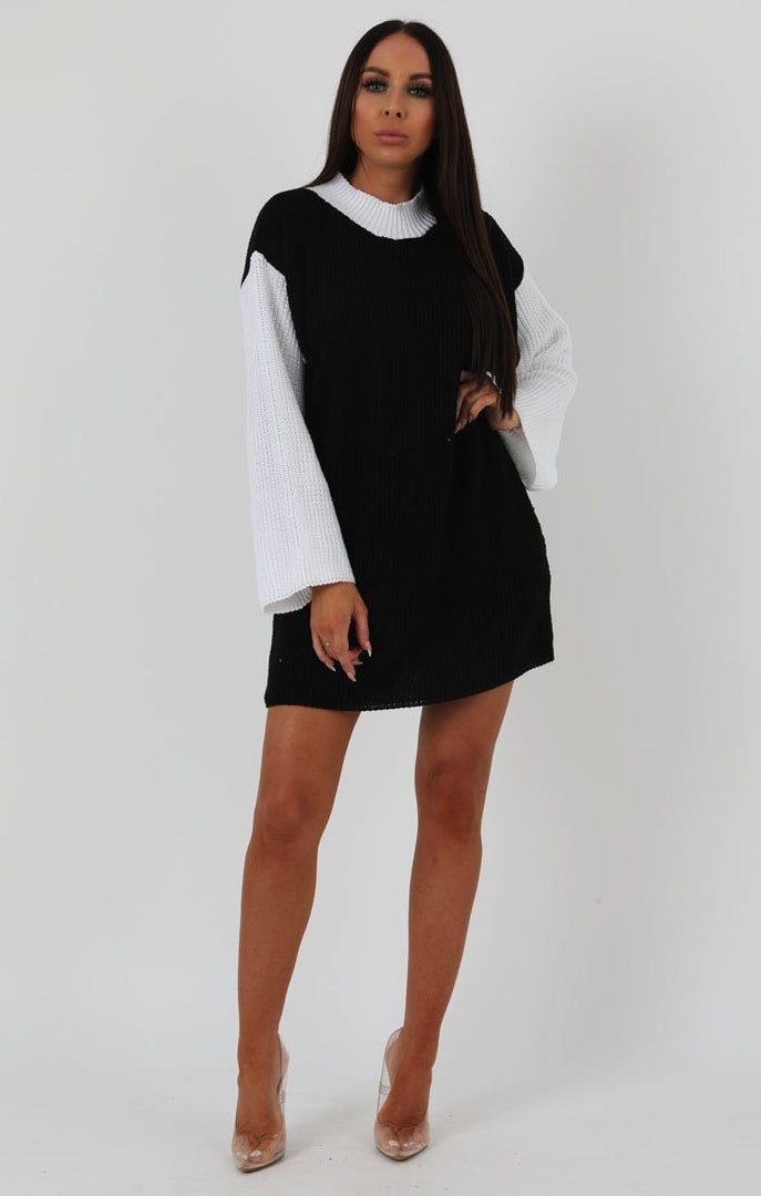 Black Knit Block Colour Jumper Dress - Ella dresses FemmeLuxe