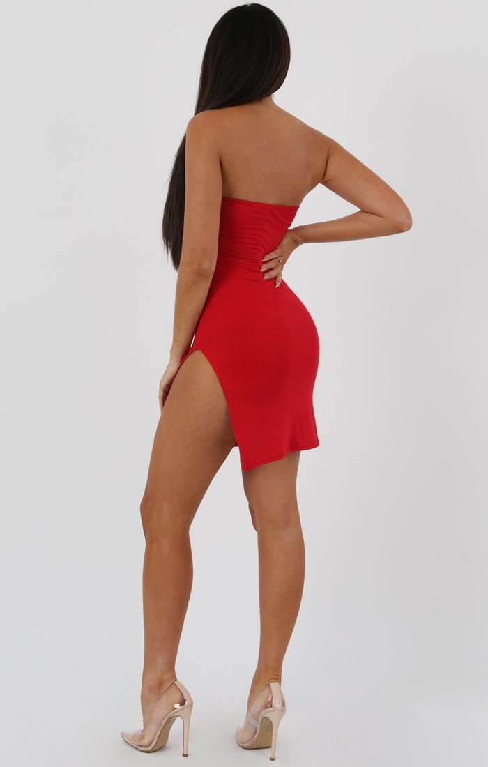 Red Split Side Bandeau Bodycon Dress - Lelia