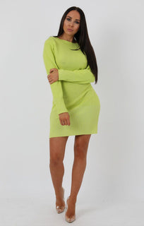 Lime Knit Ribbed Bodycon Dress - Daria