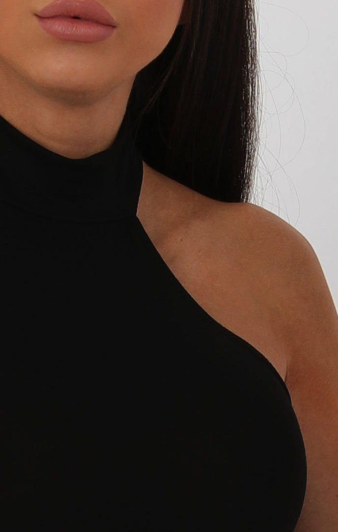 Black High Neck Split Side Bodycon Dress - Dana