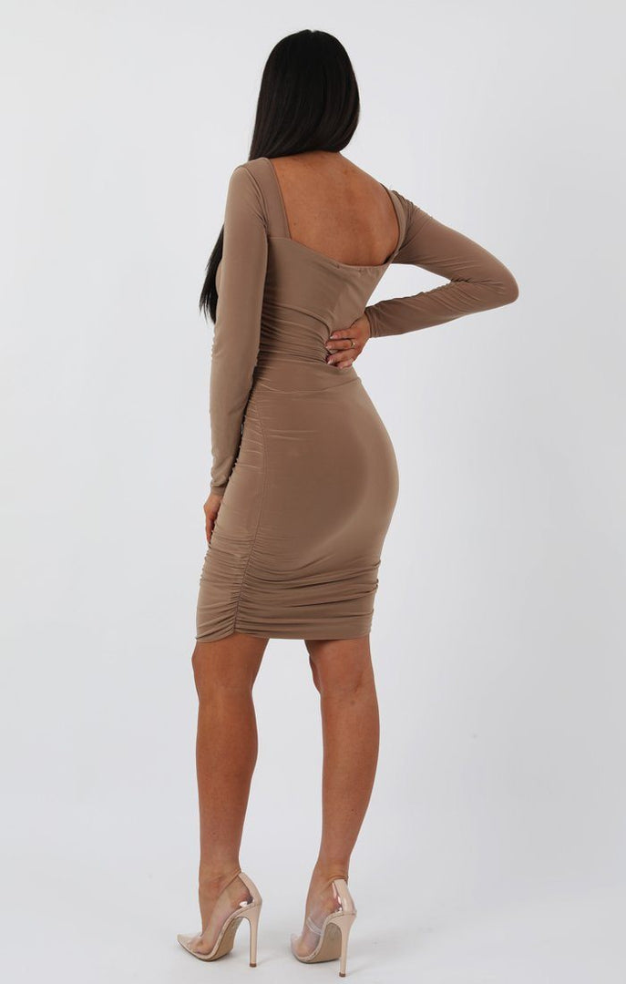 Beige Slinky Square Neck Ruched Bodycon Dress - Cristbal dresses FemmeLuxe