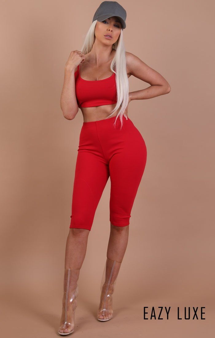 Red Basic Crop Shorts