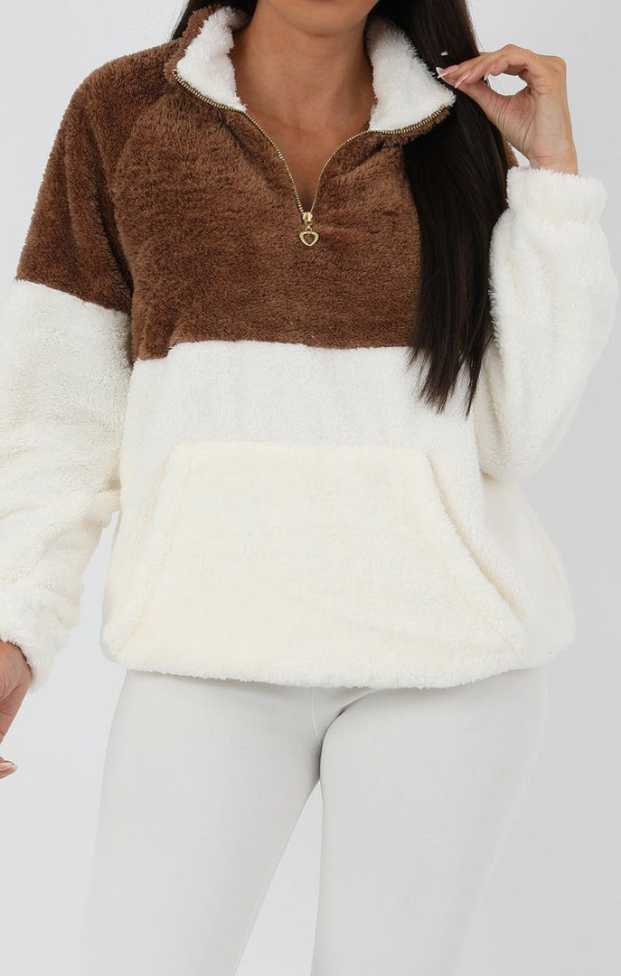 Brown-White-Quarter-Zip-Teddy-Sweater-Jumper-Tia
