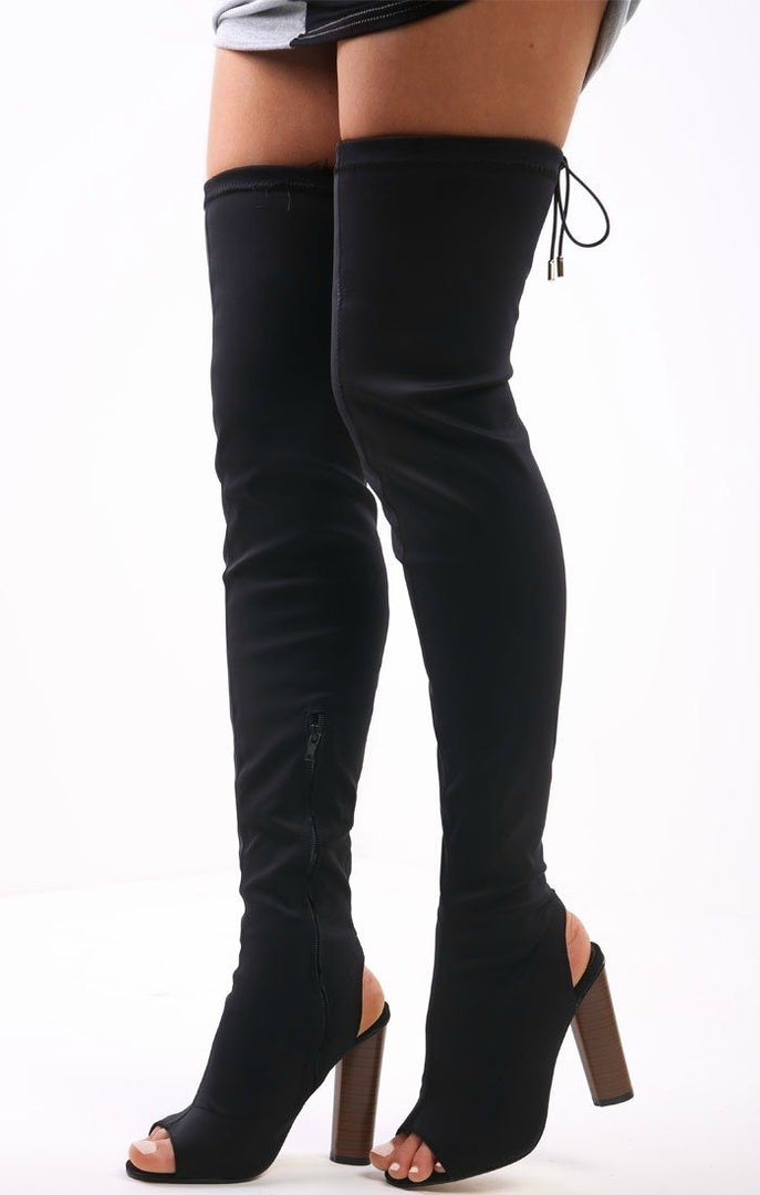 Black Peep Toe Lycra Knee High Boots