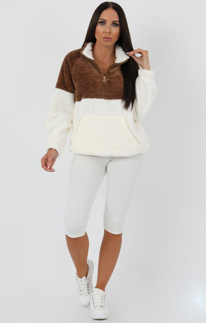 Brown White Quarter Zip Teddy Sweater Jumper - Tia jumpers FemmeLuxe