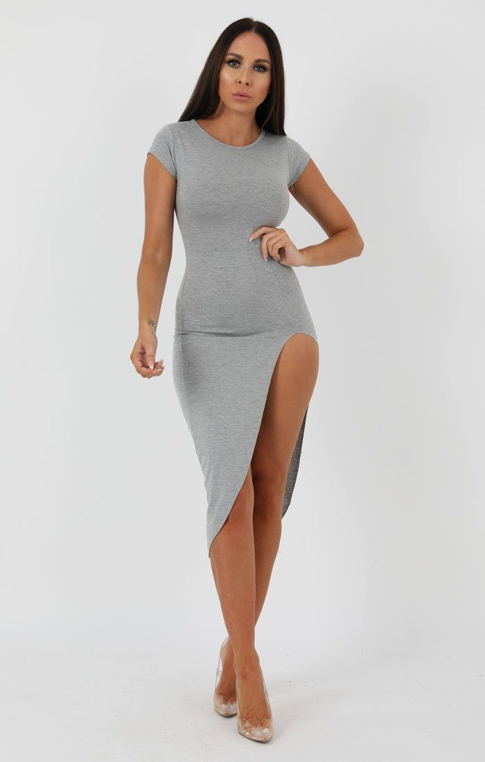 Grey Extreme Split Cap Sleeve Midi Dress - Eliana