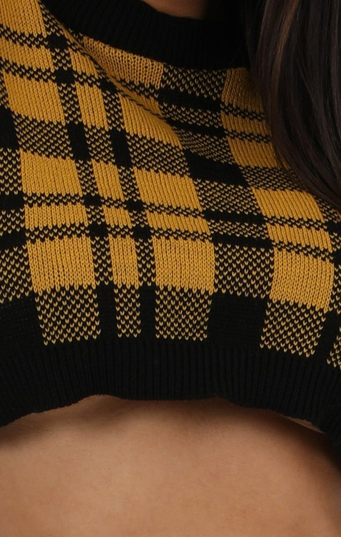 Mustard Black Tartan Knit Crop Jumper - Gracie