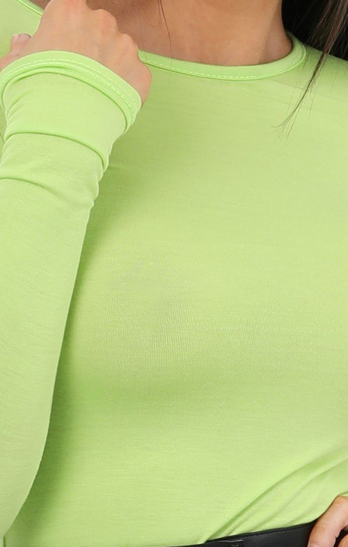 Neon Lime Round Neck Long Sleeve Fitted Tee - Daisy