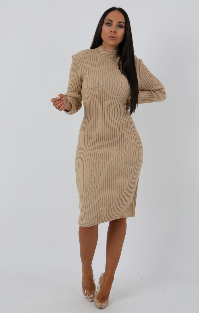 Stone Knitted Ribbed Long Sleeved Midi Dress - Ellie